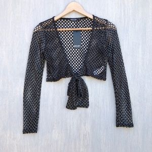 NWT Nasty Gal Fishnet tie front crop top S